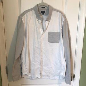 J. Crew Men's Oxford XL gray white